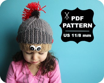 English-French Two Needle KNITTING PATTERN / Digital Download / #66 / Knitted Knight Hat / 6-16M to 5 years-Adult / US11 / 8mm