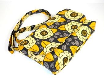 Mini Cross Body Bag, Small Messenger Purse,  Floral Pocketbook, Shoulder Bag, Yellow Gray Bag - Joel Dewberry Aviary 2 Bloom in Granite