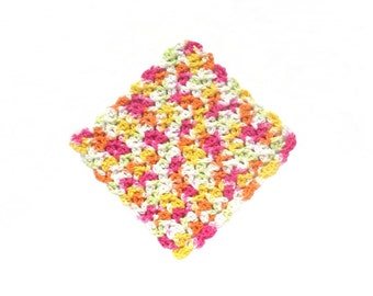 Crochet Dishcloth, Cotton, Multicolor
