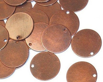 100 pcs of antiqued copper plated brass coin disc 12mm