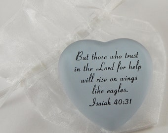 Frosted Heart Word Stone - But those who trust in the Lord...Isaiah 40:31