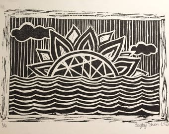 "Sunrise Linoprint Art Print 8x11"""