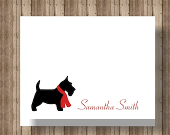 PERSONALIZED NOTECARDS for Women or Girls/Scotty Dog Terrier Boxed Set of Folded Notecards/ Set of 10 Personalized Stationery Cards with Dog
