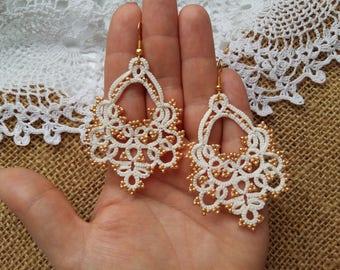 """tatting jewelry lace earrings """"Маркиза"""" Jewellery  Chandelier Earrings  gift for her  lace jewelry    Lightweight earrings"""