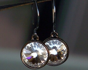 Vibrant Swarovski Crystal and Oxidized Sterling Silver Earrings