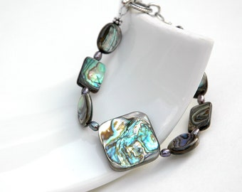 Paua Shell Bracelet, Sterling silver, Freshwater pearl, Paua Shell Jewelry, Gift for her, Resort jewelry