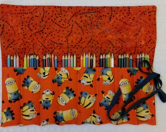 The Rollup for Coloring, Coloring Book, Colored Pencil Rollup, Pencil Roll, FREE SHIP Art Supplies, Pencil Roll, Flap, Orange Minions Fabric