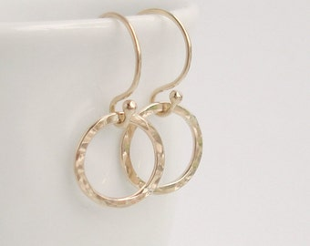 Dainty Gold Hoop Earrings 14k Gold filled Hammered Hoops Handmade French Earwires