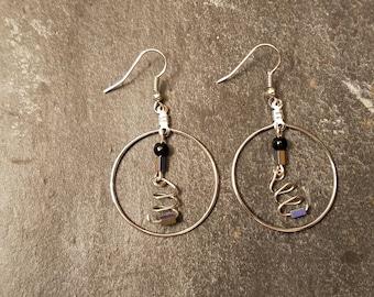 Twisted wire & genuine stone hoop dangle earrings