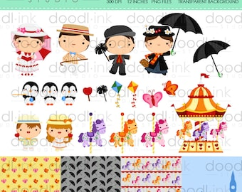 SALE 50%!!! Mary Poppins Digital Clipart / Carousel Cute Cartoon Clip Art / Digital Paper For Personal Use / INSTANT DOWNLOAD