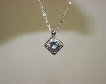 White cz  Necklace,Silver  Nacklace , 925 Sterling Pendant, Silver Jewelry, Handcrafted Pendant,