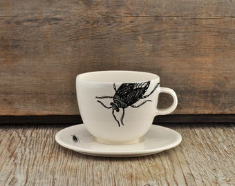 Porcelain allongé coffee cup and saucer with vintage INSECT prints