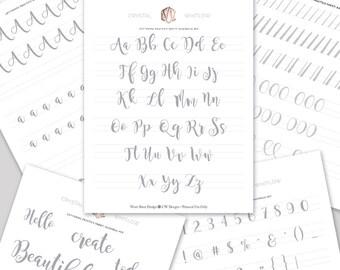 Hand Lettering Workshop Bundle, Hand Lettering Practice Sheets, Hand Lettering Style Sheets, Hand Lettering Alphabet,  Free Video