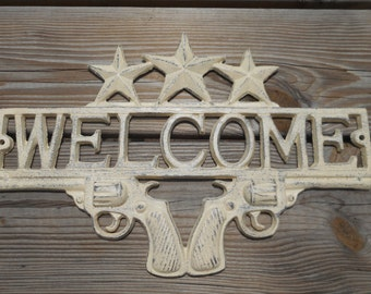 Cast Iron WELCOME Sign/Western Decor/Home Decor Cast Iron/Cast Iron Wall Decor/Country Decor/Outdoor Sign Decor
