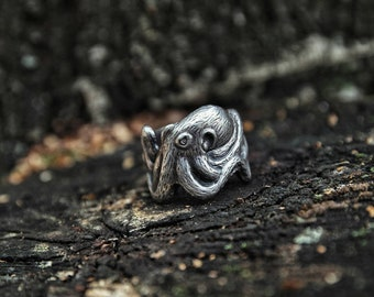 Octopus Ring of silver 22 mm wide