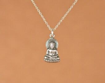 Buddha necklace - silver buddha necklace - yoga necklace - gautama buddha - a solid silver buddha on a sterling silver chain