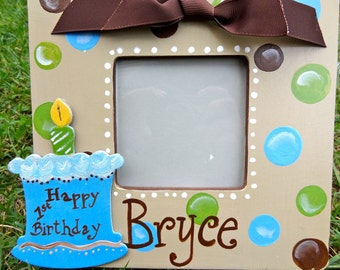 Sweet Boy's Birthday Custom Painted Boutique Picture Frame Personalization Included