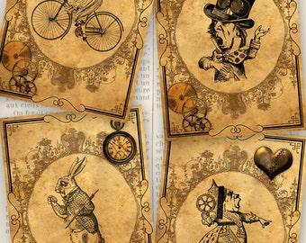 Printable Steampunk Alice in Wonderland Cards paper crafting digital download instant download digital collage sheet - VDCAAL1202