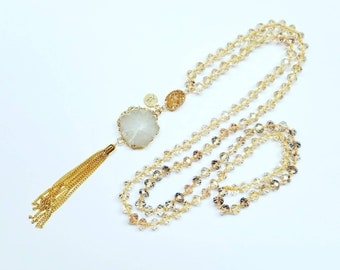 Bead Necklace / Hand Knotted / Jewelry / White / Tassel / Boho / Yoga