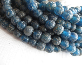blue round glass beads , matte translucent dark blue lampwork beads , rustic gritty textured indonesian  9 to 11mm  / 12 pcs - 5A38-2