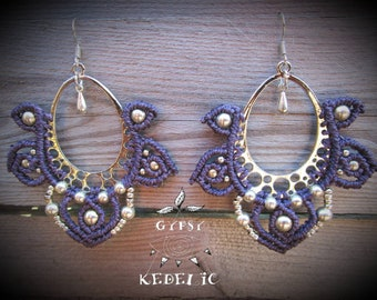 Creole earrings in macramé, with silver brass beads and drop.