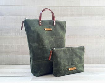 on sale!. WAXED CANVAS BAG, Comfort UNiSEX Tote, FOReST Green Bag, men bag, women bag, Christmas gift, Xmas, for men, for him, Zip Tote Bag