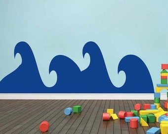 Nursery Waves Wall Decal, Kids Ocean Wave Murals, Waves Stickers, Removable Waves Art Decor for Kids Bedrooms, Kids Ocean Wall Decals, f77
