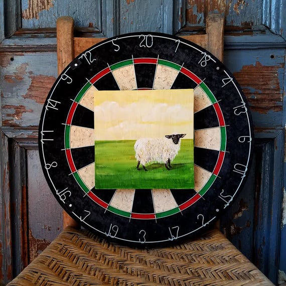 Farm scene of a Sheep an original painting on re-purposed wood