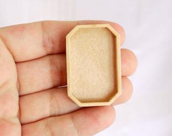 Brooch Blank - Pendant Setting - Wood Bezel Cup - Handmade by Artbase - Maple Wood - (F7-Mp)