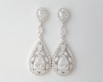 Crystal Bridal Earrings Wedding Jewelry Cubic Zirconia Bridal Jewelry Crystal Wedding Earrings Teardrop Earrings For Bride, Esther