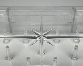 vintage clear lucite thread holder