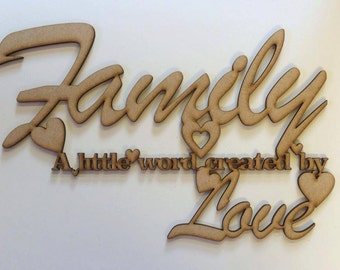Family a little word created by love plaque