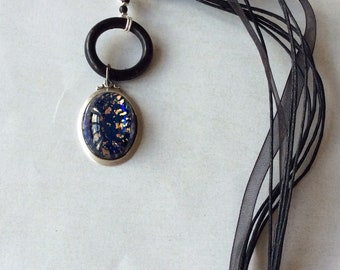 Dark blue glass opal necklace,Blacl silk cord necklace,Blue with gold fleck pendant necklace