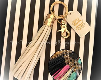 Monogrammed Tassel Key Chain - Monogrammed Tassel KeyChain - Personalized Tassel KeyChain - Tassel Keychain - Monogram Key Chain