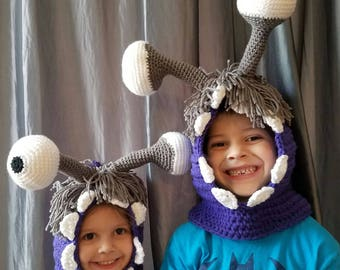 Crochet Boo Hooded Cowl PATTERN, Boo costume pattern, crochet boo pattern