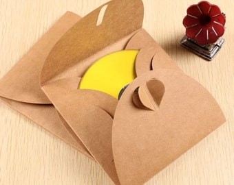 CD Cover - 5pcs CD Kraft Paper Cases Sleeves Heart Button CD Case Holders Wedding Favors Photography Packaging