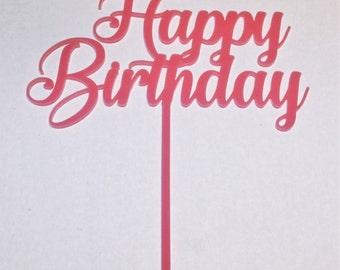 Happy Birthday Cake Topper - Script