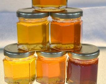 A Pure Raw Honey Samplers of different Varietal Honey 6 (6 oz.) jars, You choose your sampler of Varietal Honeys