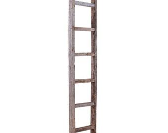 Blanket Ladder, Decorative Ladder, Towel Ladder, Wood Ladder, Rustic Ladder, Wooden Ladder, Quilt Ladder, Ladder Shelf-Weathered Gray