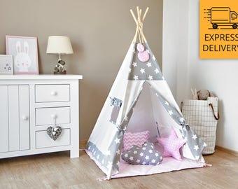 Tipi Set - Kids Play Tent Teepee - Cozy Grey Stars Pink