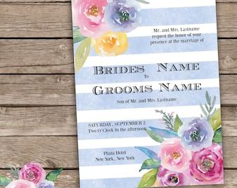 Blue Striped Floral Wedding Invitation