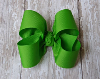 "Apple Green Large Hair Bow 4"" Alligator Clip Girls Hairbow 4"" Green Hair Bow Large Hair Bow Girl Hairbow Apple Green Girls Bow"
