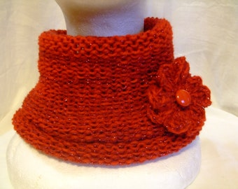 Red neck warmer,without seam,blend wool,with brooch,accessories,