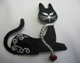 Black Cats Applique iron-on embroidered pussy cats- set of 2