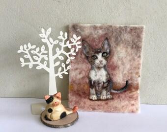 Devon Rex kitten wool painting, needle felted cats wool painting, cats, kittens, kitties, nursery, gift, birthday, cards,