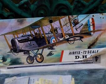 Vintage Aeroplane WWI D H 4 Bomber, D E Havilland, Patt No 131, 72 Scale Model, Military Aviation, Model Hobby, 1917 No 25 Squadren R F C