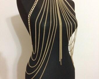 gold body chain , body necklace , body jewelry