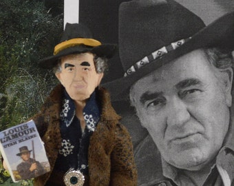 Louis L'Amour Western Fiction Writer Author Doll Miniature Historical Story Writing Unique Book Geek Gift