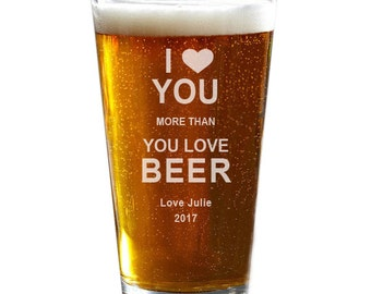 Pint Glass, Valentine's Day, Personalized Beer Glass, Husband Gift, Boyfriend Gift, Anniversary Gift, Birthday Gift