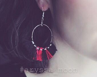 Red Black two-tone tassels Bohemian Gypsy silver buckles